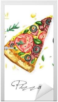 Naklejka na Drzwi Akwarela żywności Malarstwo - Pizza
