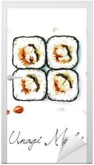 Naklejka na Drzwi Akwarela żywności Malarstwo - Unagi Maki