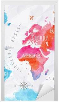 Naklejka na Drzwi Akwarele różowy niebieski mapa świata