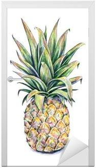 Naklejka na Drzwi Ananas na białym tle. Ilustracja akwarela