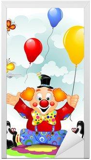 Naklejka na Drzwi Balony Clown i motyle
