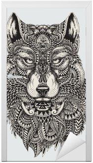 Naklejka na Drzwi Bardzo szczegółowe streszczenie ilustracji wilka