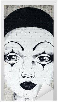 Naklejka na Drzwi Białej twarzy clown graffiti na brickwall