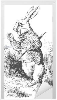 Naklejka na Drzwi Biały królik z alice wonderland zegarka