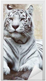 Naklejka na Drzwi Biały tygrys