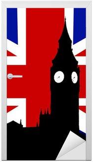 Naklejka na Drzwi Big Ben i Wielka Brytania Flaga