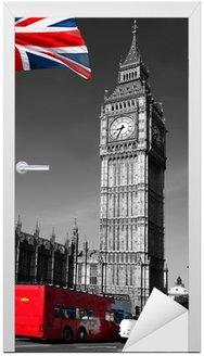 Naklejka na Drzwi Big Ben z czerwonego autobusu miejskiego w Londynie