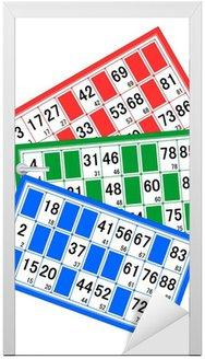 Naklejka na Drzwi Bingo karty czerwony, zielony i niebieski Zakres