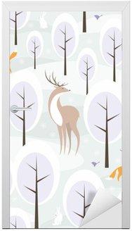 Naklejka na Drzwi Boże Narodzenie bez szwu z wizerunkiem zimowego lasu i dzikich zwierząt