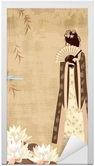 Naklejka na Drzwi Chińska dziewczyna na starym papierze grunge