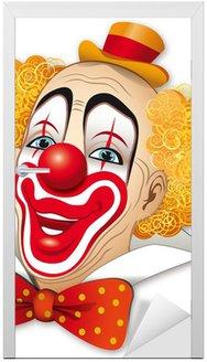 Naklejka na Drzwi Clown z czerwone włosy na białym tle