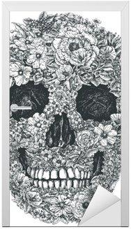 Naklejka na Drzwi Czaszki wektorowych kwiaty