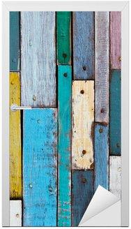 Naklejka na Drzwi Dekoracyjne i kolorowe deski z drewna