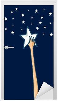 Naklejka na Drzwi Dotrzeć do gwiazd i sukcesu