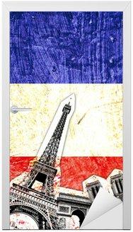 Naklejka na Drzwi Drapeau francja paris