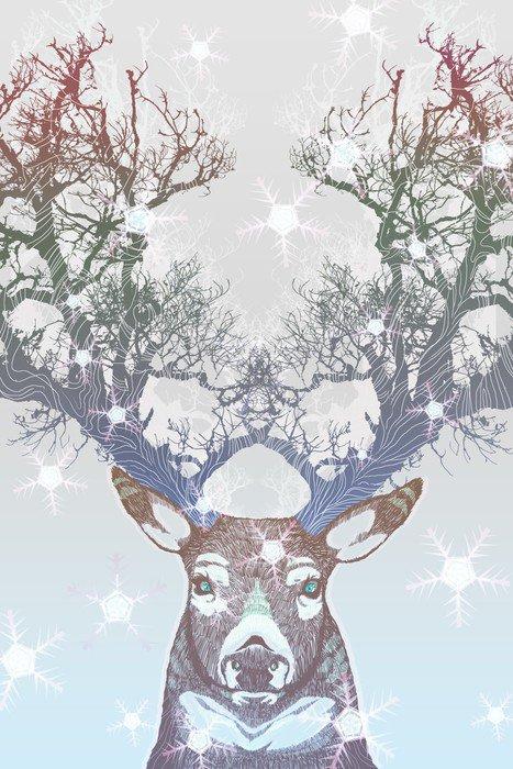 Naklejka na Drzwi Drzewo rogów jelenia mrożone -