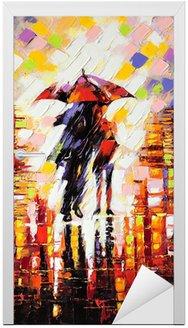 Naklejka na Drzwi Dwóch zakochanych pod parasolem