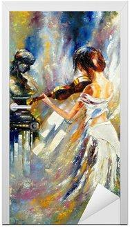 Naklejka na Drzwi Dziewczyna gra na skrzypcach