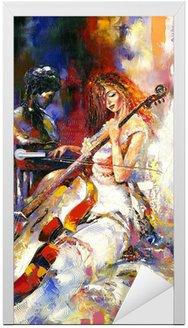 Naklejka na Drzwi Dziewczyna i wiolonczela