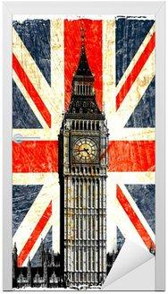Naklejka na Drzwi English flag Big Ben w pionie