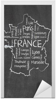 Naklejka na Drzwi Francja mapę i wyrazy chmura z większych miast