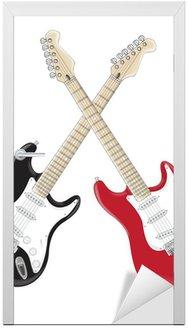 Naklejka na Drzwi Gitary krzyż