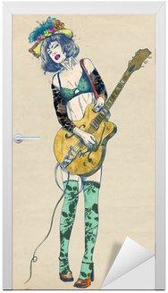 Naklejka na Drzwi Gitarzysta - ekscytujące piękno.