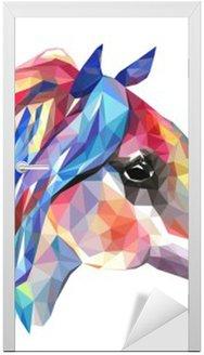 Naklejka na Drzwi Głowa konia, mozaiki. Trendy w stylu geometrycznej na białym tle.