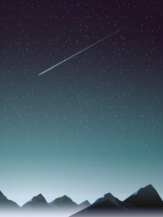 Naklejka na Drzwi Góra perspektywy z komety, kiedy noc - Krajobrazy
