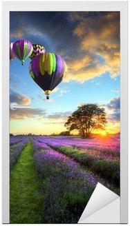 Naklejka na Drzwi Gorące powietrze balony latające nad lawendy słońca krajobrazu