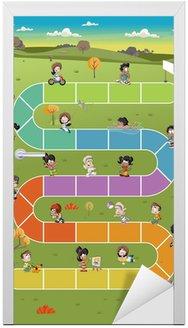 Naklejka na Drzwi Gra planszowa z szczęśliwych dzieci kreskówki gry na park