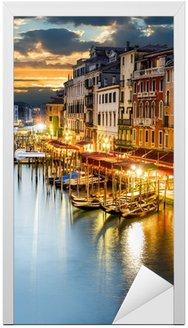Naklejka na Drzwi Grand Canal w nocy, Wenecja