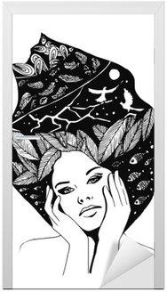 Naklejka na Drzwi __illustration, graficzny portret czarno-białe kobiety
