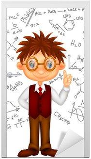 Naklejka na Drzwi Inteligentny chłopak kreskówki