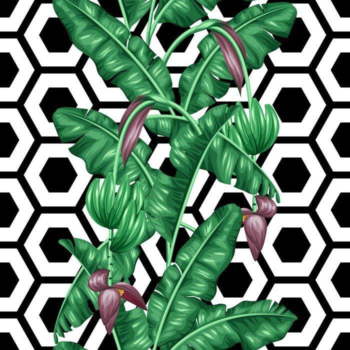 Naklejka na Drzwi Jednolite wzór z liści bananowca. Obraz dekoracyjne tropikalnych liści, kwiatów i owoców. Tło wykonane bez wycinek maska. Łatwy w obsłudze dla tło, tekstylia, papier pakowy - Rośliny i kwiaty