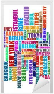 Naklejka na Drzwi Kapitał ilustracja miasta typograficzne