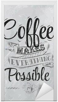 Naklejka na Drzwi Kawa napis Poster sprawia wszystko, węgiel