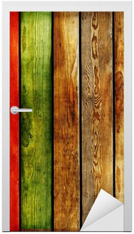 Naklejka na Drzwi Kolorowe drewniane deski-streszczenie tle