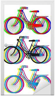 Kolorowe sylwetki rowerowe, vector set