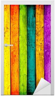 Naklejka na Drzwi Kolorowych desek tle