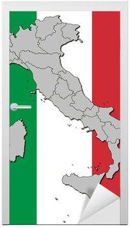 Naklejka na Drzwi Kontury banderą Włoch