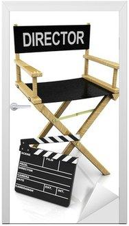 Naklejka na Drzwi Krzesło reżysera i clapboard