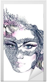 Naklejka na Drzwi Kwiatowy urządzone twarzy