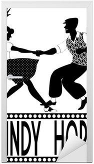 Naklejka na Drzwi Lindy hop sylwetka tancerze