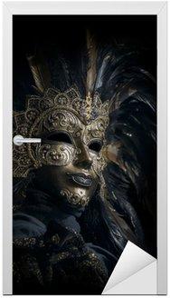 Naklejka na Drzwi Luksusowe weneckie maski odizolowane na czarno