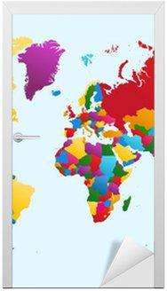 Naklejka na Drzwi Mapa świata, kraje kolorowe eps10 wektor plik.