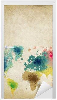Naklejka na Drzwi Mapa świata z farb kolorowych plam na starym papierze