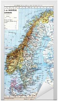 Naklejka na Drzwi Mapa Szwecji, Norwegii i Danii