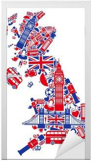 Naklejka na Drzwi Mapa Wielkiej Brytanii