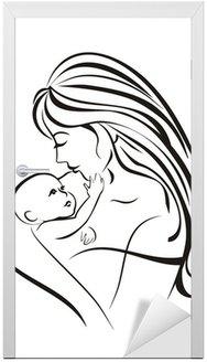 Matka i dziecko w szkic koncepcji czarnych linii